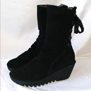 Fly London Women's Black Suede Boots Size 12 (42)